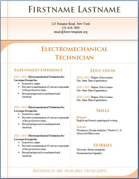 Where Can I Find Free Resume Templates by Free Cv Templates 1 To 7 Electromechanical Technician Free Cv Template Dot Org