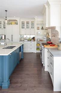 white kitchen cabinet paint farmhouse kitchen with blue island home bunch interior