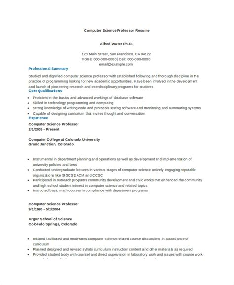 Resume Format For Computer Science Lecturer Computer Science Resume Exle 9 Free Word Pdf Documents Free Premium Templates