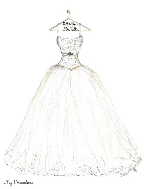 Wedding Gift Drawing by Wedding Dress Sketch For An S Day Gift