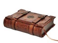 Handcrafted Journals - large leather journal with cookery detail by