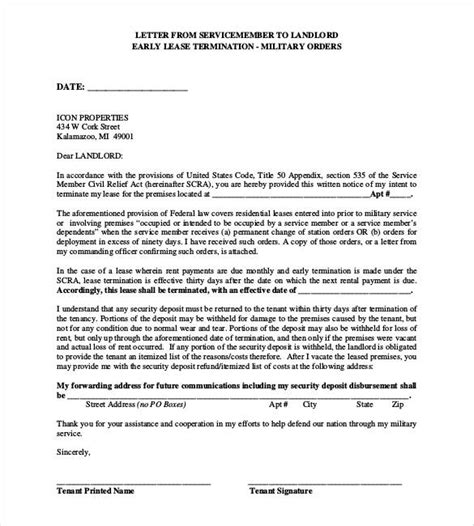 Early Lease Termination Letter To Landlord Template lease termination letter templates 22 free sle