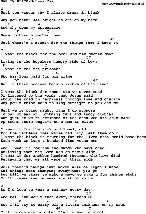 in lyrics country in black johnny lyrics and chords