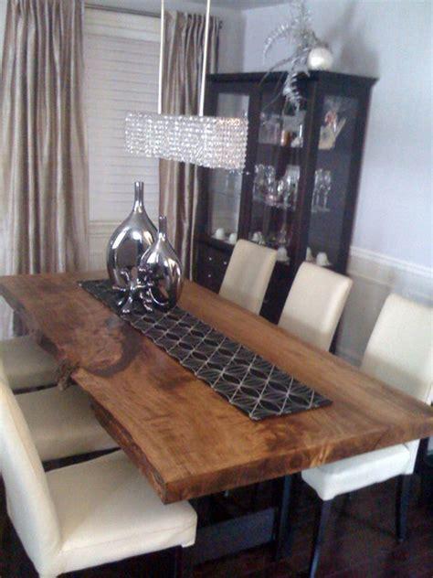 reclaimed poplar  edge slab dining table
