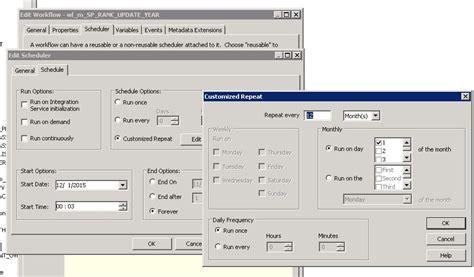 unix command to run informatica workflow schedule informatica workflow yearly and quarterly with