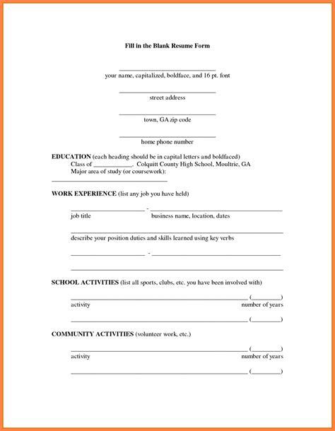 Resume Application For 13 Blank Resume Form For Application Bussines 2017