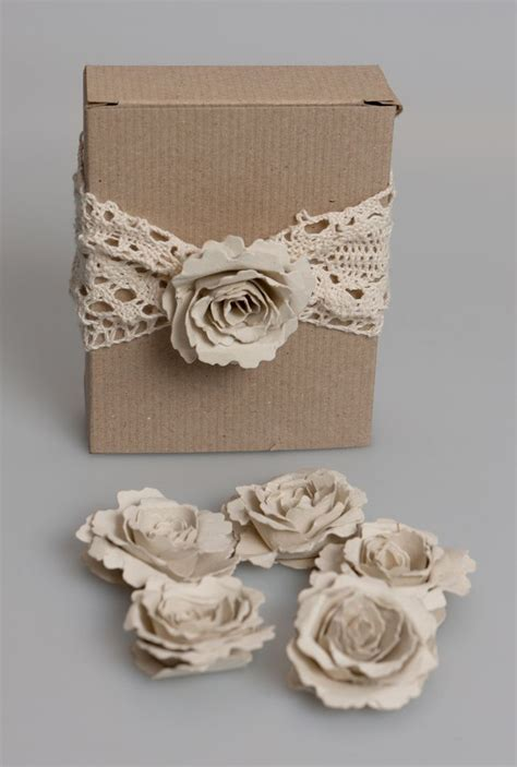 Handmade Corsage - handmade recycled brown kraft paper flower corsage kit