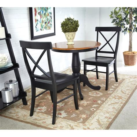 Black Pedestal Table And Chairs by Black And Cherry 30 Inch Pedestal Table With Two X Back