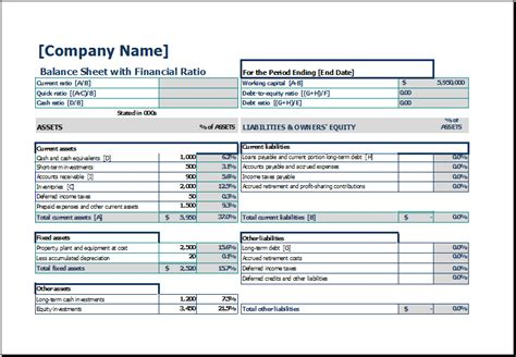 balance sheet template excel free balance sheet templates in excel excel