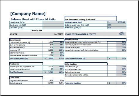 Free Excel Balance Sheet Template
