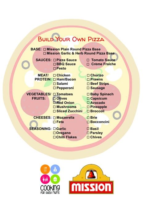 printable pizza recipes 20 plus mix and match pizza toppings plus a free printable