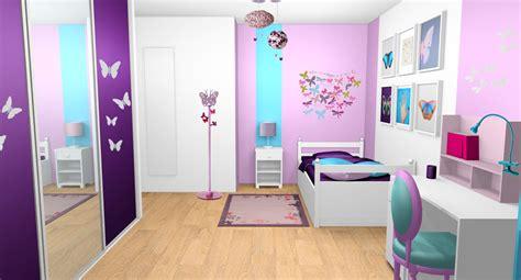 Exceptionnel Deco Chambre Bebe Fille Violet #2: Chambre-fille-violet-mauve-turquoise-papillons-bandes-peinture-1.jpg