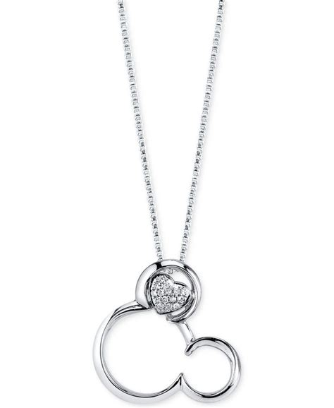 Disney Mickey Necklace Kalung disney accent mickey mouse pendant necklace in sterling silver mickey mouse
