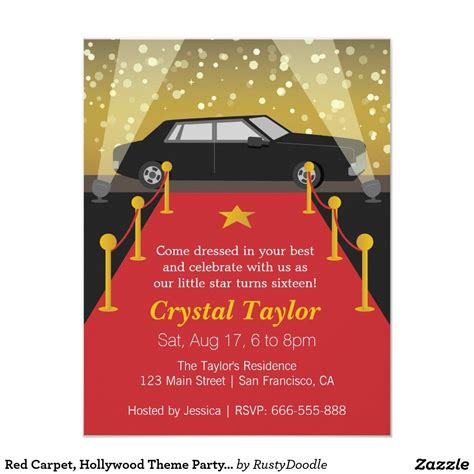 Red Carpet Hollywood Theme Party Girl Birthday Card Hollywood Theme Parties Hollywood Theme Theme Invitation Templates