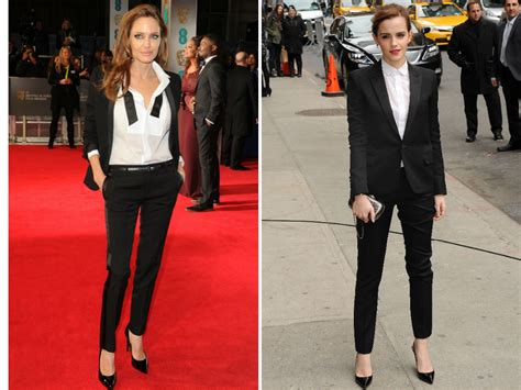 emma watson in suit emma watson and angelina jolie both wore saint laurent suits