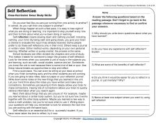 self reflection 4th grade reading comprehension worksheet