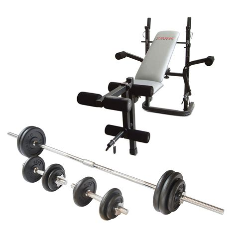 weights and bench set york b501 weight bench and viavito 50kg cast iron weight set