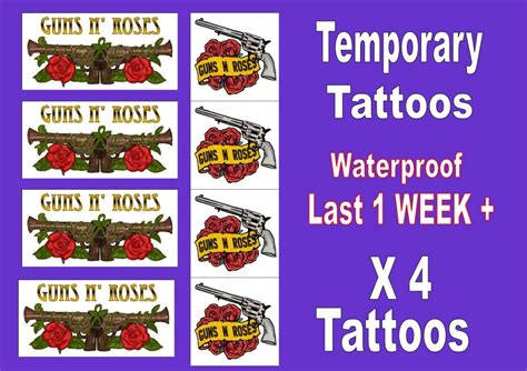 guns n roses temporary tattoos guns n roses temporary tattoos x4 band