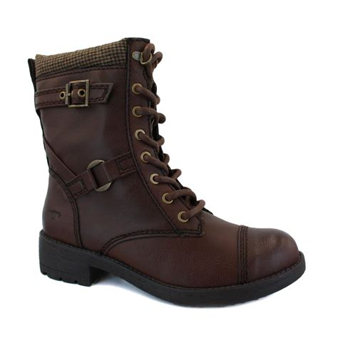 rocket thunder womens laced synthetic leather biker boots