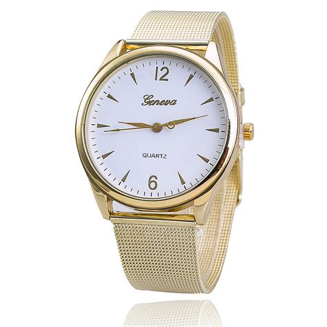 new stainless steel gold geneva fashion wrist