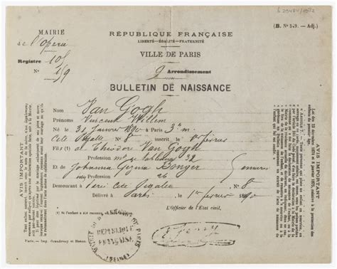 Netherlands Birth Records Copy Of The Birth Certificate Of Vincent Willem Gogh