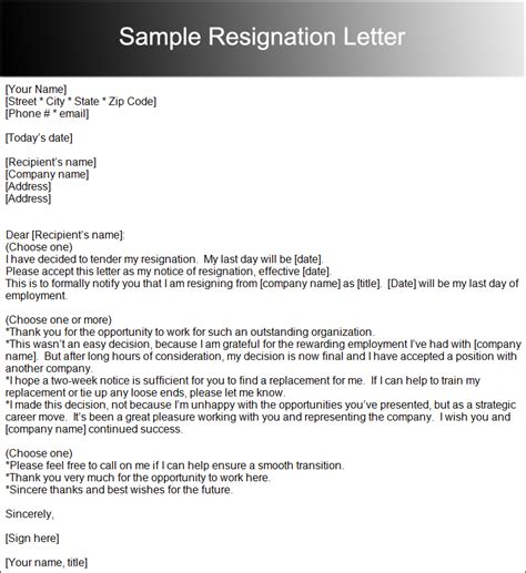 2 weeks notice format standart friendly resignation letter sample