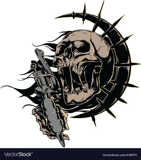 skull with tattoo machine logo royalty free vector image