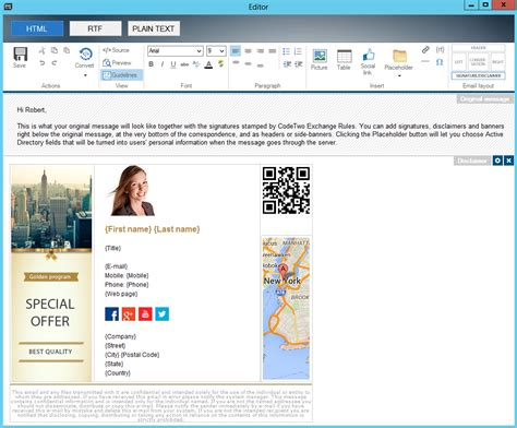 exchange email templates signatures and disclaimers on exchange server