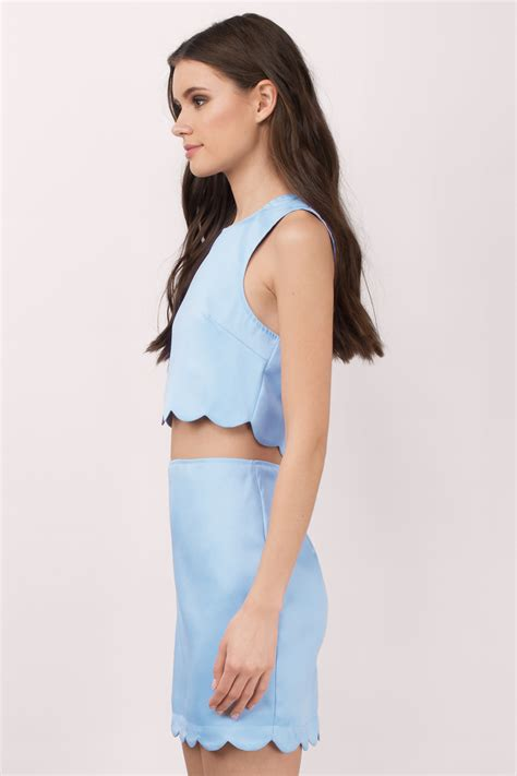 light blue suede dress light blue dress scalloped dress two midriff