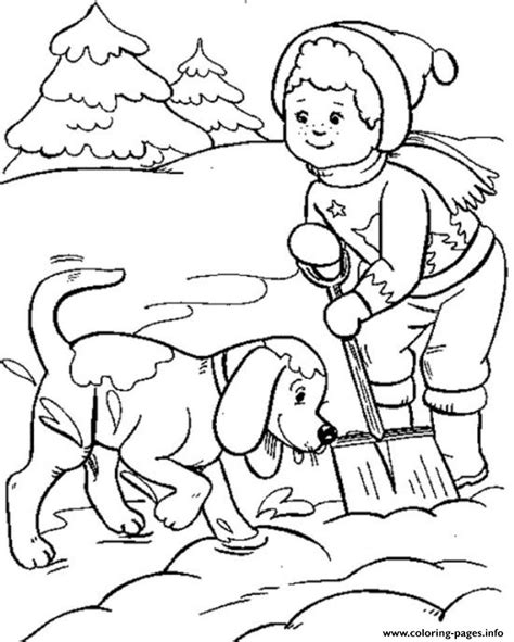 snow dogs coloring pages boy and dog playing snow winter s for kids477d coloring