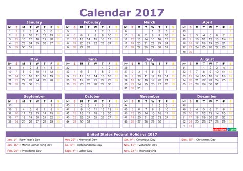 yearly calendar 2017 with holidays calendar 2017 50 important calendar templates of 2017