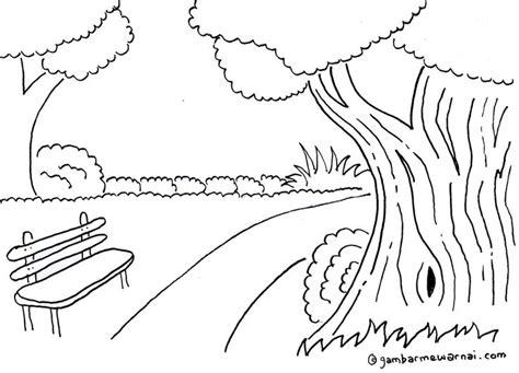 sketsa mewarnai pemandangan kebun raya picture