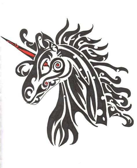 unicorn tribal tattoo tribal unicorn by lindeahl on deviantart