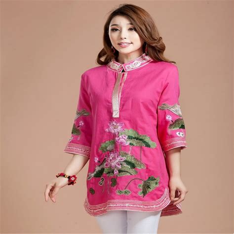 Blouse Atasan Tunik Import New Qipao Size Xl 195643 embroidery cheongsam blouse vintage linen cotton pink three quarters embroidered