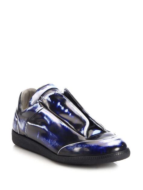maison margiela future sneakers maison margiela future metallic leather sneakers in blue