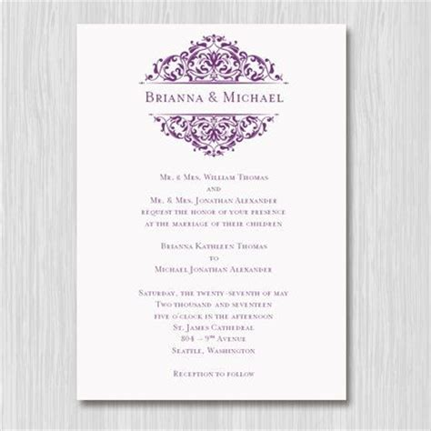 docs template card invitations printable wedding invitation template quot grace quot plum purple