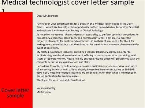 Resume Examples Templates. Medical Technologist Cover