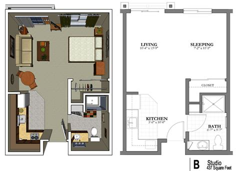 efficiency apartment layout the studio apartment floor plans above is used allow the