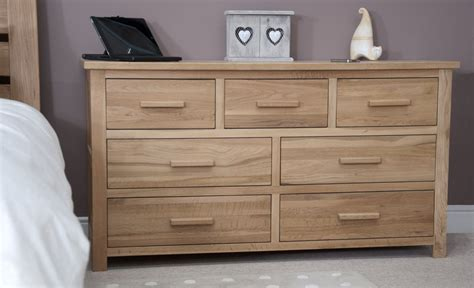 Oak Bedroom Dresser Eton Solid Modern Oak Furniture Large Bedroom Wide Chest Of Drawers Ebay