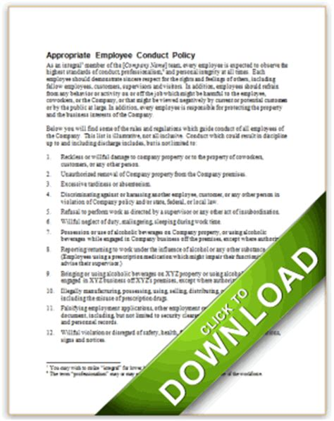 code of conduct exle appropriate employee conduct