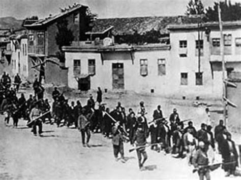 ottoman empire armenian genocide armenians being marched to a prison in mezireh by turkish