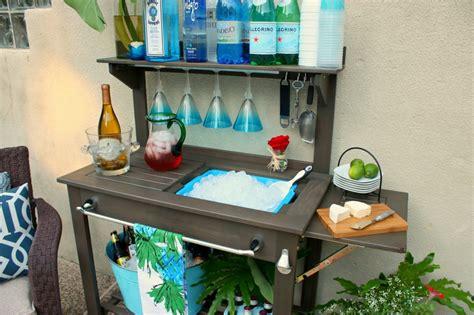 potting bench bar potting bench turned outdoor bar