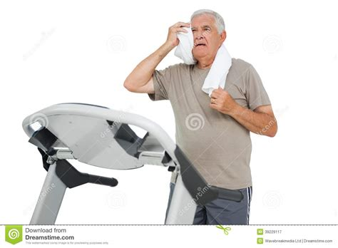 how to a to run on a treadmill tired senior running on a treadmill stock photo image 39229117