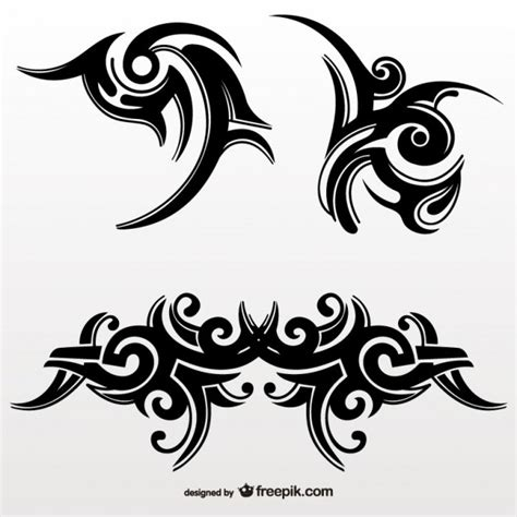 set of tribal abstract tattoos vector free vector