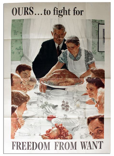 norman rockwell dinner table lot detail wartime norman rockwell poster freedom