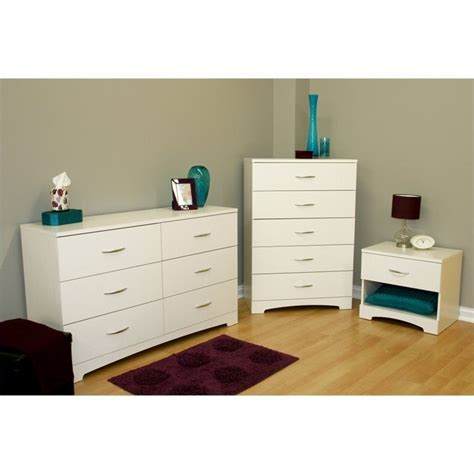 White Dresser And Nightstand South Shore Maddox Dresser With Chest And Nightstand Set In White 3160010 3pkg