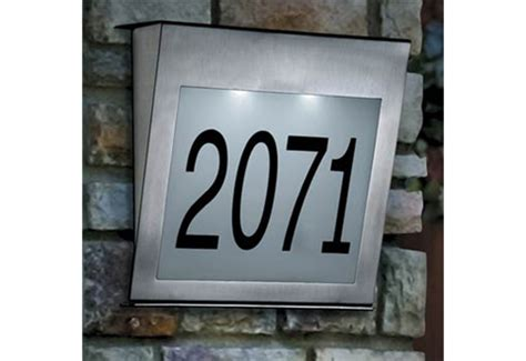 solar house numbers solar house number with stainless steel spikes sharper image