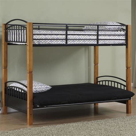 Futon With Bunk Bed Powell Matte Black And Country Pine Futon Metal Bunk Bed
