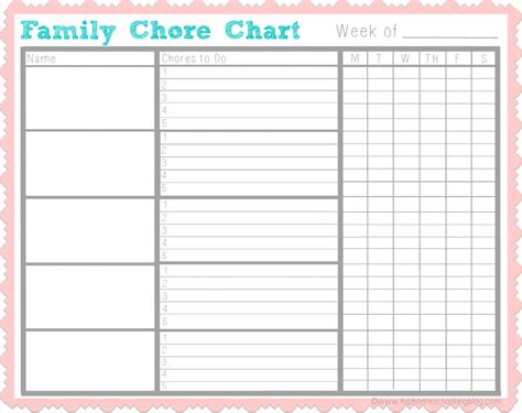 Household Chore Chart Template by Chores For Get Helping With My Free Chore Chart