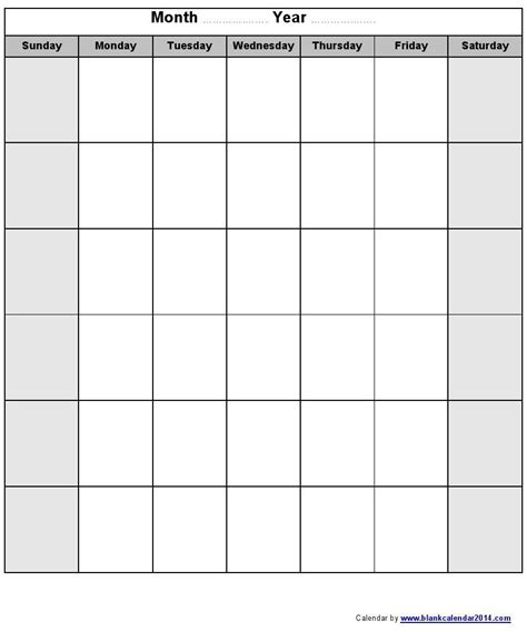 Calendar 2014 Blank